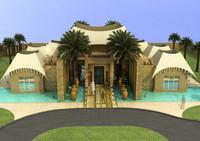 3d exterior arabian villa