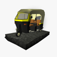 3d cartoony india rickshaw