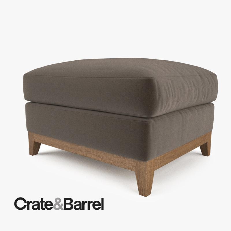 Crate barrel taraval ottoman 3d max for Crate and barrel pouf