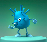 maya funny cartoon bacterium