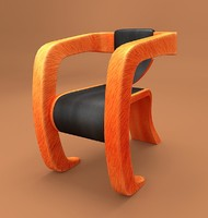 3d model wooden framed leather arm chair