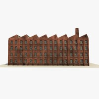 old derelict factory building 3d c4d