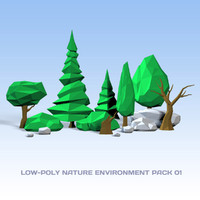 3d nature pack 01 realtime trees model