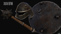 shield hammer helmet 3d model