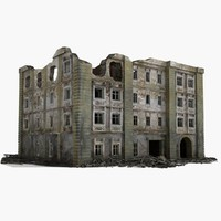 3d destroyed ruined building world war model