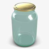 3d model glass jar 1 litter