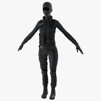 3d swat woman 3 model