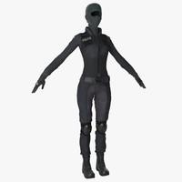 3d swat woman 4 model