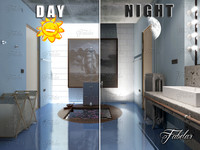 bathroom 62 night scene 3d max
