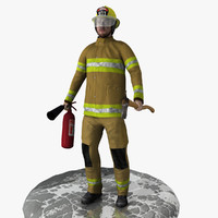 3d model realistic rigged firefighter