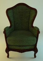 3d green fabric armchair model