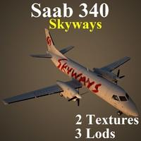 saab 340 skx 3d model