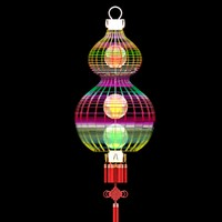 chinese red gourd lantern 3d max