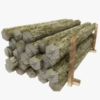 3ds wooden logs