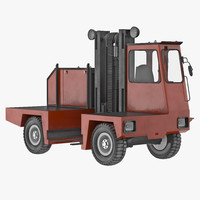 3d model loading forklift truck red