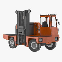 loading forklift truck orange 3d model