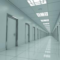 3d model modern hallway