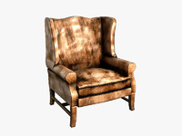 3d pottery barn leather armchair