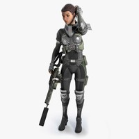 futuristic female soldier 3d max
