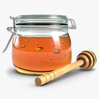 3d glass jar honey dipper