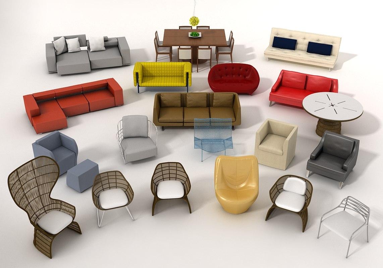 Free Pack 1 Furniture 3d Model