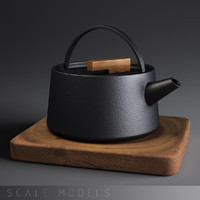japanese iron kettle set 3d model