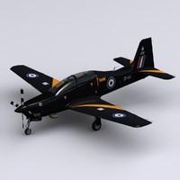 short tucano t1 raf 3d model