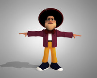 3d model of cartoon man rigged character