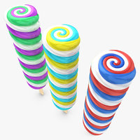 3d cyclone popsicle 3 colors model