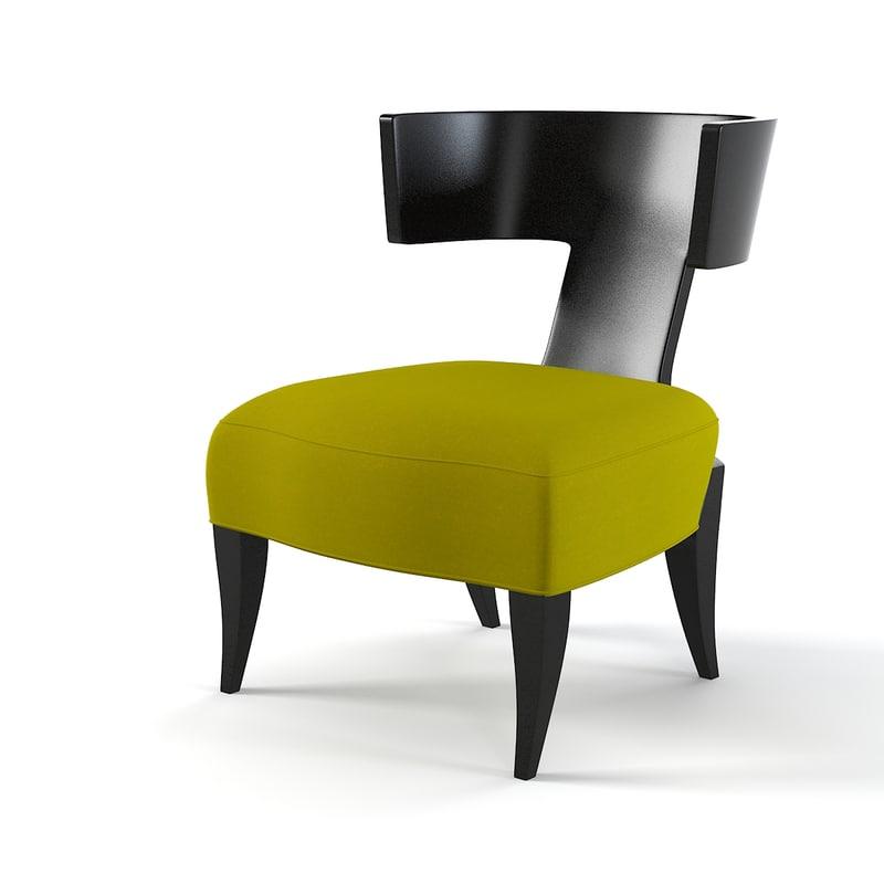 3d model of donghia klismos chair