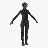 3d swat woman afro american