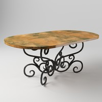Alexander Dining Table with 44 x 72 Soft Oval Copper Top