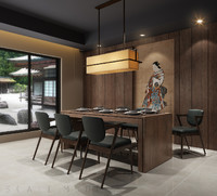 modern japanese dining room 3d x