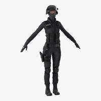 swat woman afro american 3d model