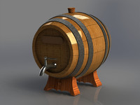 3d wooden barrel alcoholic iron model