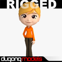3d dugm06 rigged cartoon woman