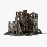 destroyed ruined building war 2 3d model