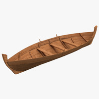 rowboat modeled realistic 3d c4d