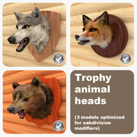 3d model trophy animal heads