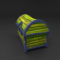 wooden treasure chest 3d model