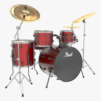 acoustic drums pearl 3d max