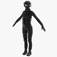 swat woman european 2 3d c4d