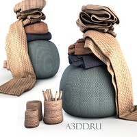 3d model of knitted pouf draperies