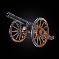 3d cannon field medieval model