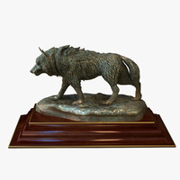 statuette bronze wolf 3ds