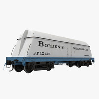 3d bordens milk tank car model