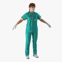 female caucasian surgeon 3d max