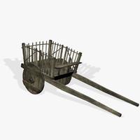 medieval hay cart fantasy 3d x