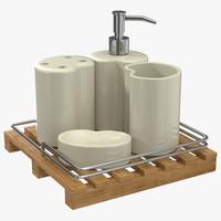 3d bathroom accessories set model