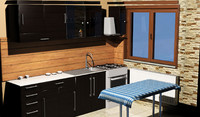 3d window kitchen